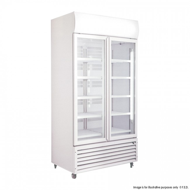 Lg 1000gte Large Double Glass Door Upright Display Fridge